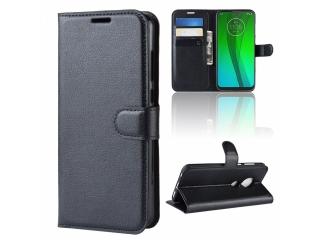 Moto G7 Plus Ledertasche Portemonnaie Karten Etui Hülle Case schwarz