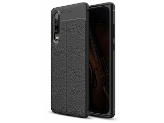 Huawei P30 Leder Design Gummi Hülle TPU Case Cover flexibel
