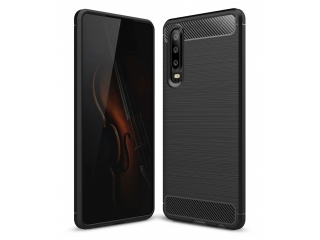 Huawei P30 Carbon Gummi Hülle TPU Case Cover flexibel schwarz