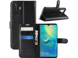 Huawei P30 Pro Ledertasche Portemonnaie Karten Schutzhülle schwarz