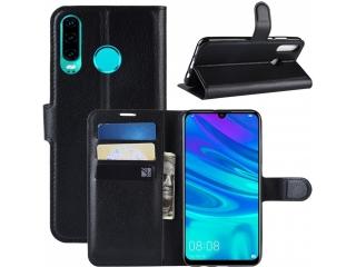Huawei P30 Lite Ledertasche Portemonnaie Karten Schutzhülle schwarz