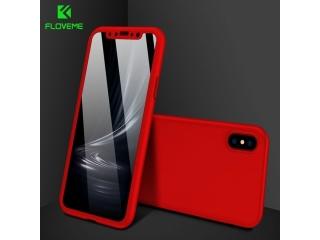 360 Grad Panzerglas Case iPhone Xs / X Rundumschutz Floveme - rot