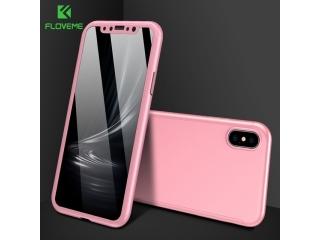 360 Grad Panzerglas Case iPhone Xs / X Rundumschutz Floveme - rosa