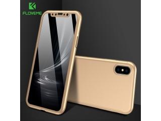 360 Grad Panzerglas Case iPhone Xs / X Rundumschutz Floveme - gold
