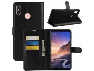 Xiaomi Mi Max 3 Ledertasche Portemonnaie Karten Etui Hülle schwarz