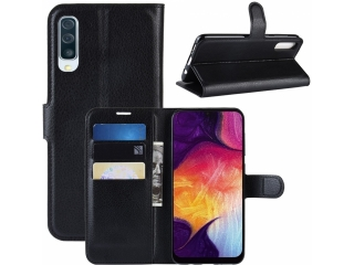 Samsung Galaxy A50 Leder Hülle Portemonnaie Karten Ledertasche schwarz