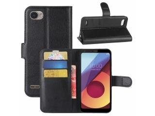 LG Q6 Ledertasche Portemonnaie Karten Etui Hülle schwarz