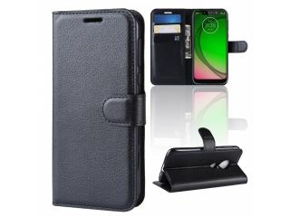 Moto G7 Play Ledertasche Portemonnaie Karten Etui Hülle Case schwarz