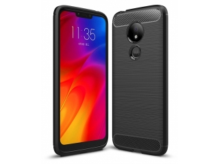 Moto G7 Power Carbon Gummi Hülle TPU Case Cover flexibel schwarz