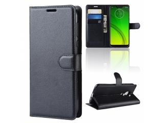 Moto G7 Power Ledertasche Portemonnaie Karten Etui Hülle Case schwarz