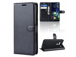 LG G8 ThinQ Ledertasche Portemonnaie Karten Etui Hülle Case schwarz