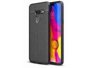 LG G8 ThinQ Leder Design Gummi Hülle TPU Case Cover flexibel