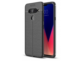 LG V40 ThinQ Leder Design Gummi Hülle TPU Case Cover flexibel