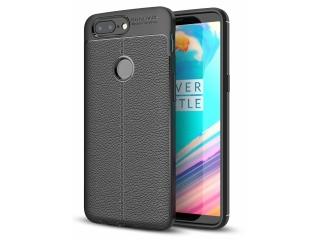 OnePlus 5T Leder Design Gummi Hülle TPU Case Cover flexibel schwarz