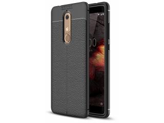 Nokia 5.1 Leder Design Gummi Hülle TPU Case Cover flexibel schwarz
