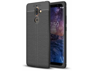 Nokia 7 Plus Leder Design Gummi Hülle TPU Case Cover flexibel schwarz