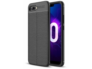 Honor 10 Leder Design Gummi Hülle TPU Case Cover flexibel schwarz