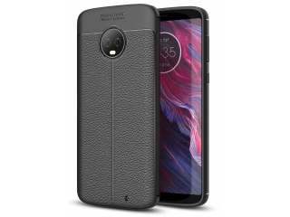 Moto G6 Plus Leder Design Gummi Hülle TPU Case Cover flexibel schwarz