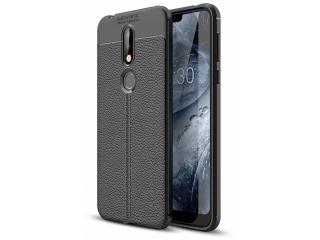 Nokia 7.1 Leder Design Gummi Hülle TPU Case Cover flexibel schwarz