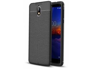 Nokia 3.1 Leder Design Gummi Hülle TPU Case Cover flexibel schwarz