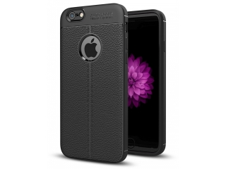 iPhone 6 / 6S Leder Design Gummi Hülle TPU Case Cover flexibel schwarz
