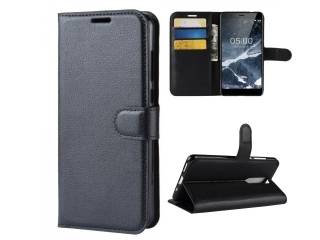 Nokia 5.1 Ledertasche Portemonnaie Karten Etui Hülle Case schwarz