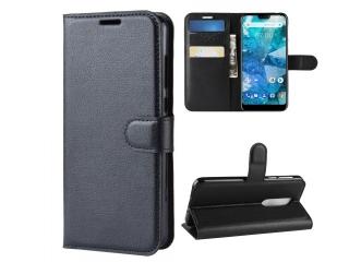 Nokia 7.1 Ledertasche Portemonnaie Karten Etui Hülle Case schwarz