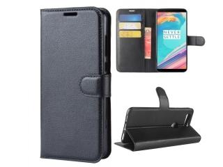 OnePlus 5T Ledertasche Portemonnaie Karten Etui Hülle Case schwarz