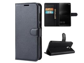Huawei Mate 8 Ledertasche Portemonnaie Karten Etui Hülle schwarz