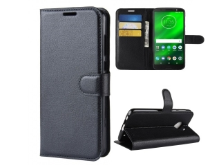 Moto G6 Plus Ledertasche Portemonnaie Karten Etui Hülle Case schwarz