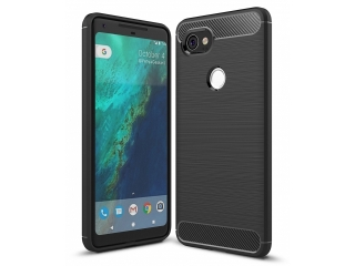 Google Pixel 2 XL Carbon Gummi Hülle TPU Case Cover flexibel schwarz