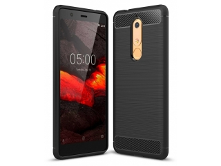 Nokia 5.1 Carbon Gummi Hülle TPU Case Cover Case flexibel schwarz