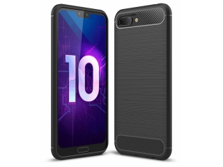 Honor View 10 Carbon Gummi Hülle TPU Case Cover Case flexibel schwarz