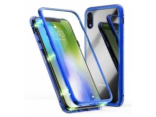 iPhone Xr Magnetische Alu Schutzhülle Glas Rückseite blau