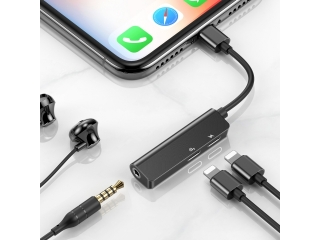 Baseus 3-in-1 iPhone 3.5mm Kopfhörer Lightning Adaper Musik & aufladen