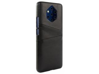 Nokia 9 PureView Leder Case Karten Etui Schutzhülle - schwarz
