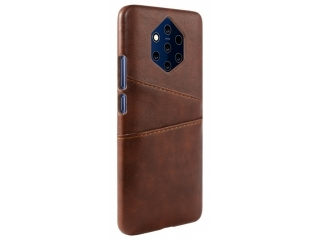 Nokia 9 PureView Leder Case Karten Etui Schutzhülle - braun