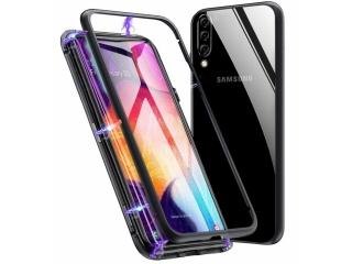 Samsung Galaxy A50 Magnetische Alu Schutzhülle Glas Rückseite schwarz