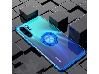 Huawei P30 Pro Hülle mit Ring Finger Case Cover transparent blau