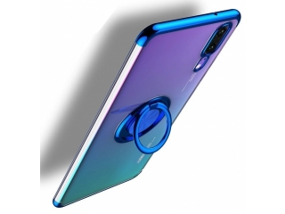 Huawei P30 Hülle mit Ring Finger Case Cover transparent blau