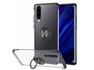Samsung Galaxy A7 (2018) Hülle Ring Finger Case transparent schwarz