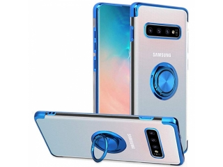 Samsung Galaxy S10 Hülle mit Ring Finger Case transparent blau