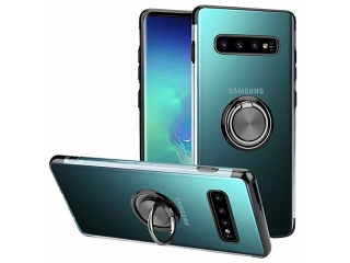 Samsung Galaxy S10+ Hülle mit Ring Finger Case transparent schwarz
