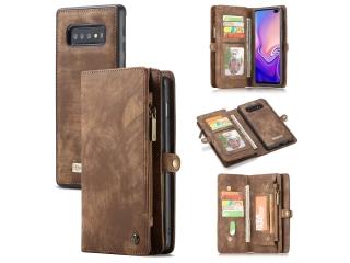 CaseMe Samsung Galaxy S10+ Echtleder Portemonnaie Karten Case braun