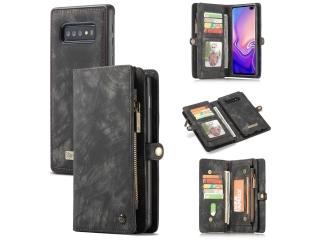 CaseMe Samsung Galaxy S10+ Echtleder Portemonnaie Karten Case schwarz