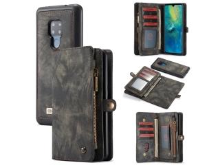 CaseMe Huawei Mate 20 Echtleder Portemonnaie Karten Hülle Case schwarz
