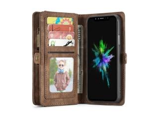 CaseMe iPhone X / Xs Echtleder Portemonnaie Hülle Karten Etui braun