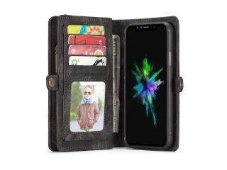 CaseMe iPhone X / Xs Echtleder Portemonnaie Hülle Karten Etui schwarz