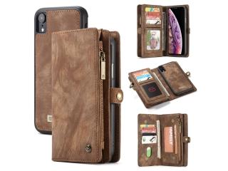 CaseMe iPhone Xr Echtleder Portemonnaie Karten Hülle Etui Case braun