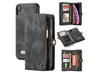 CaseMe iPhone Xr Echtleder Portemonnaie Karten Hülle Etui Case schwarz